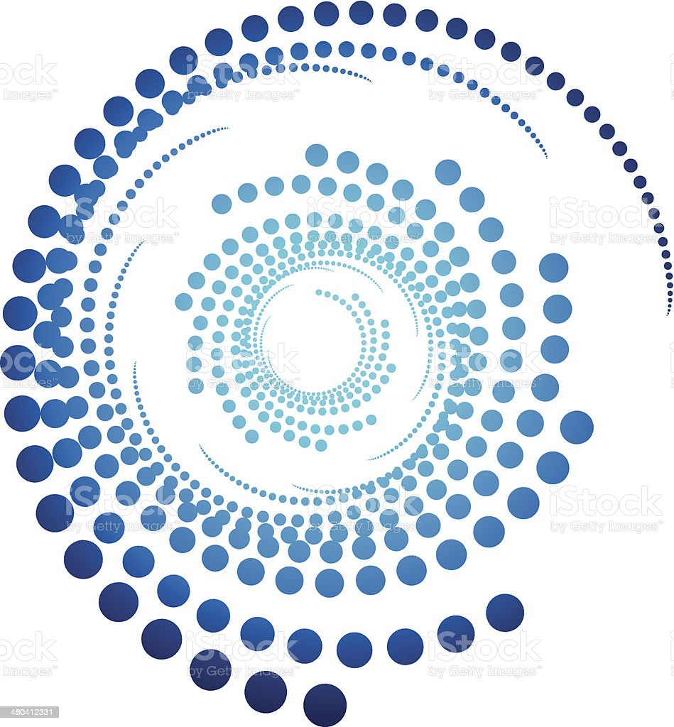 Abstract swirl dotted shape vector art illustration