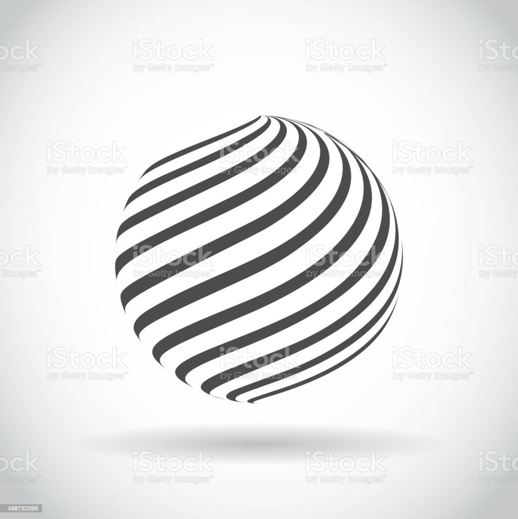 Abstract swirl sphere globe symbol vector art illustration