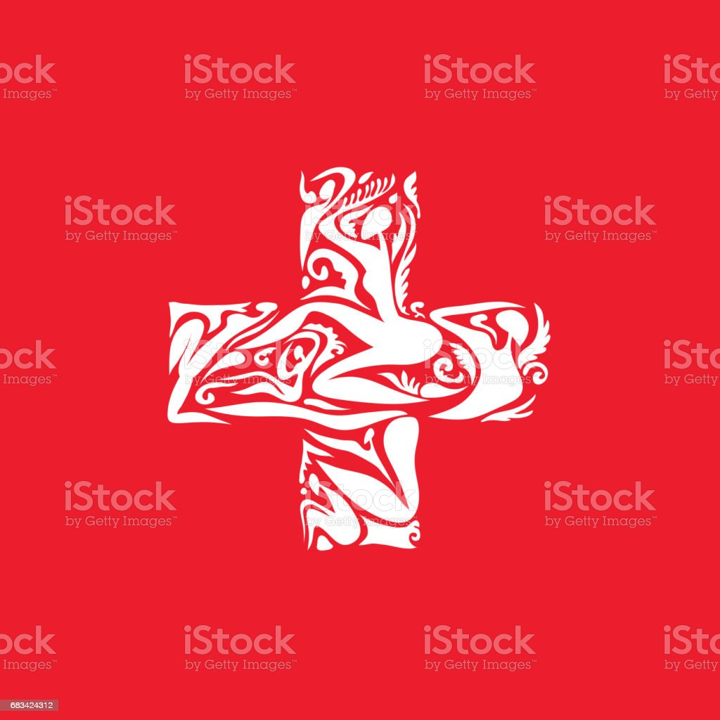 Abstract Switzerland Flag, Swiss Colors (Vector Art) vector art illustration