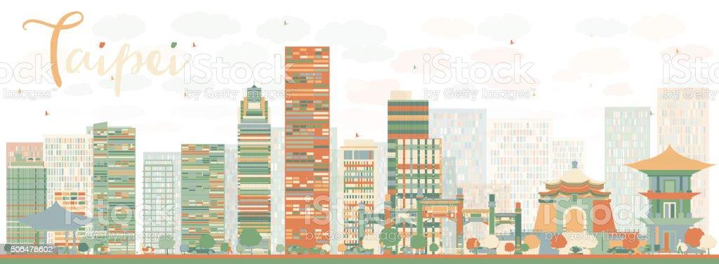 Abstract Taipei skyline with color landmarks vector art illustration