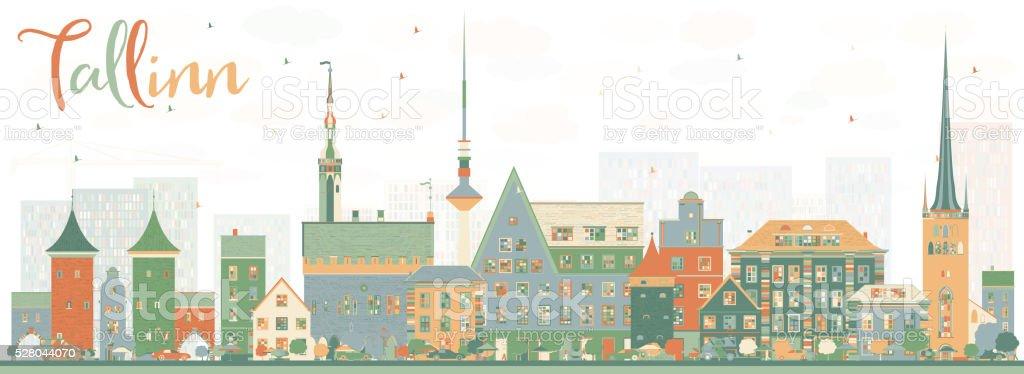 Abstract Tallinn Skyline with Color Buildings. vector art illustration