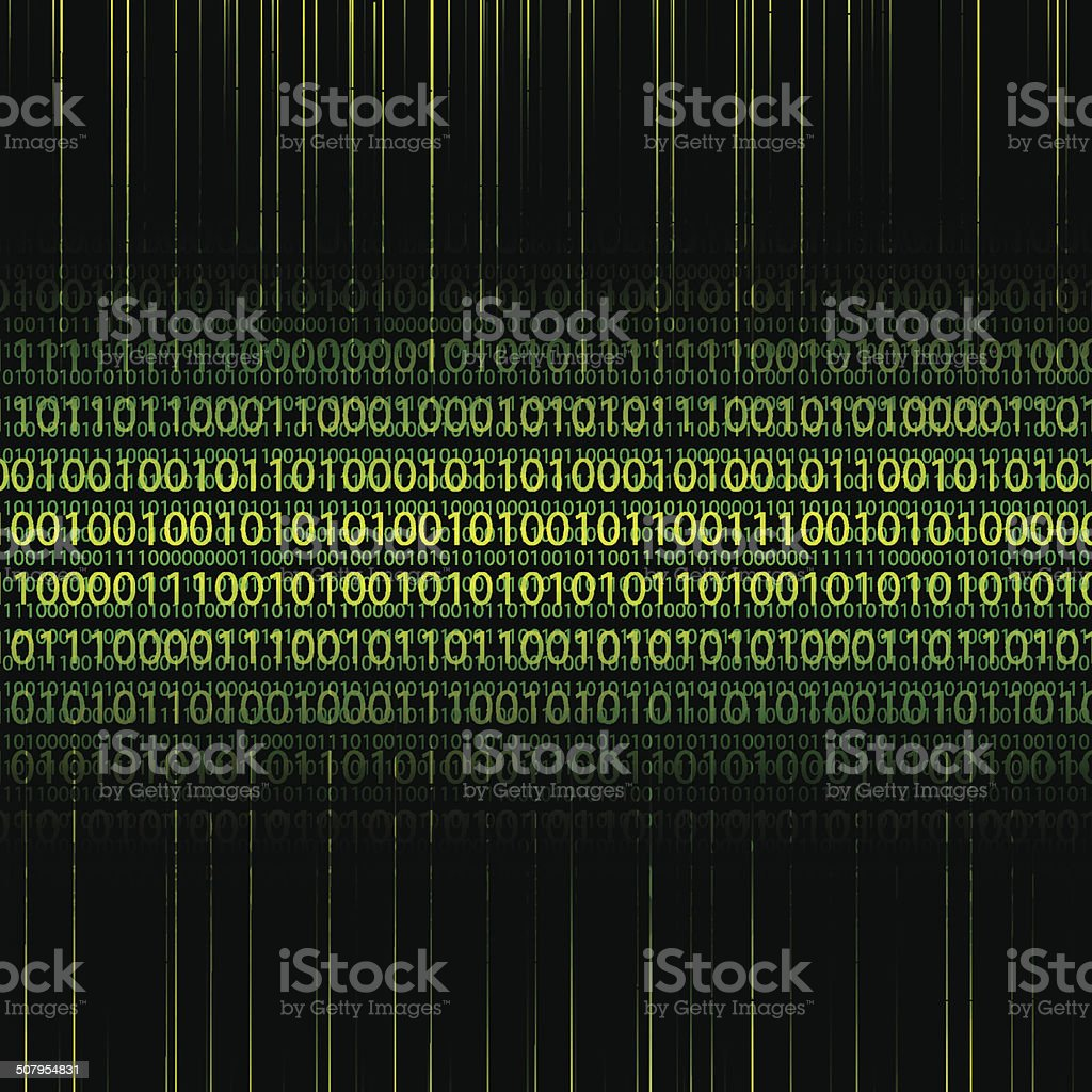 Abstract tech binary green background vector art illustration