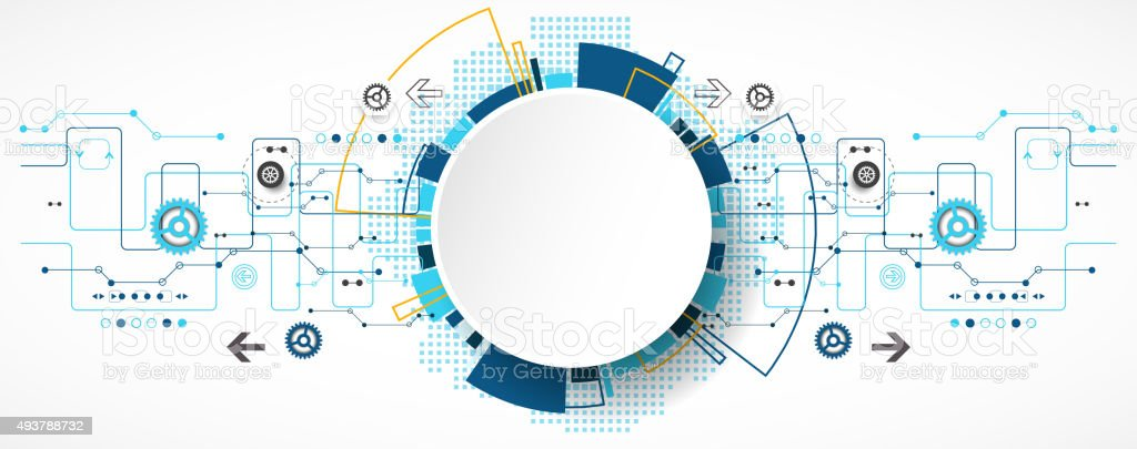 Abstract technological background with various technological ele vector art illustration