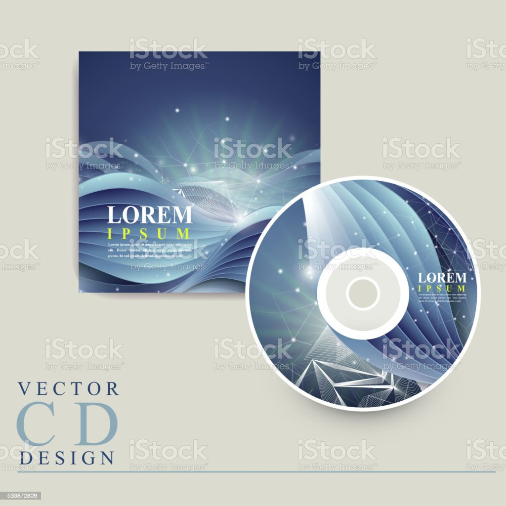 abstract technology background for CD cover vector art illustration