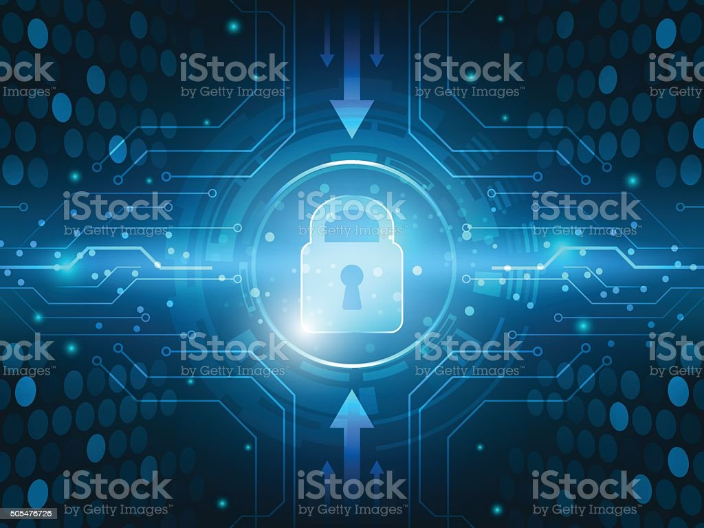 Abstract technology security global innovation network background. vector art illustration