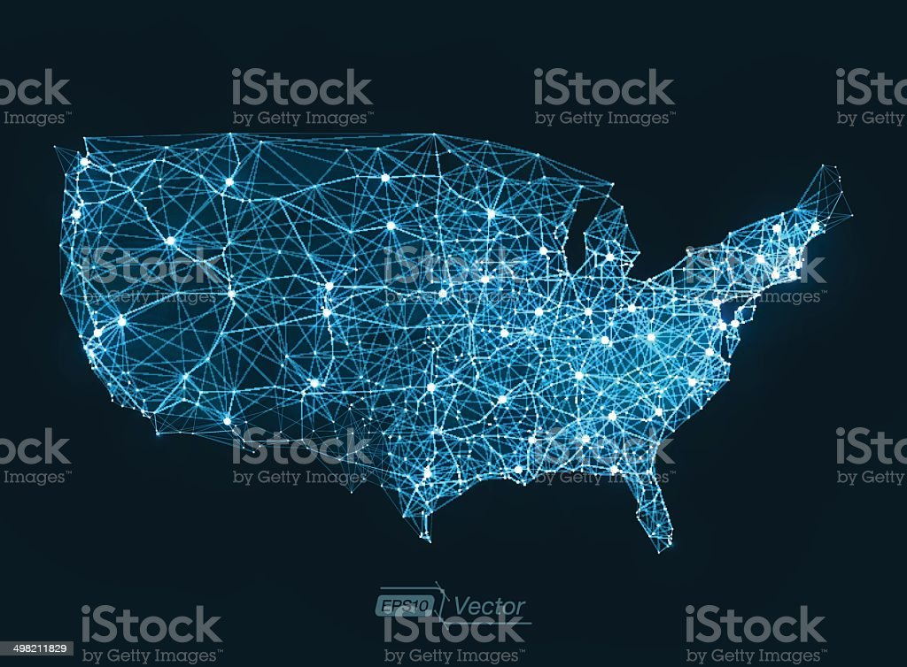 Abstract telecommunication network map concept vector art illustration