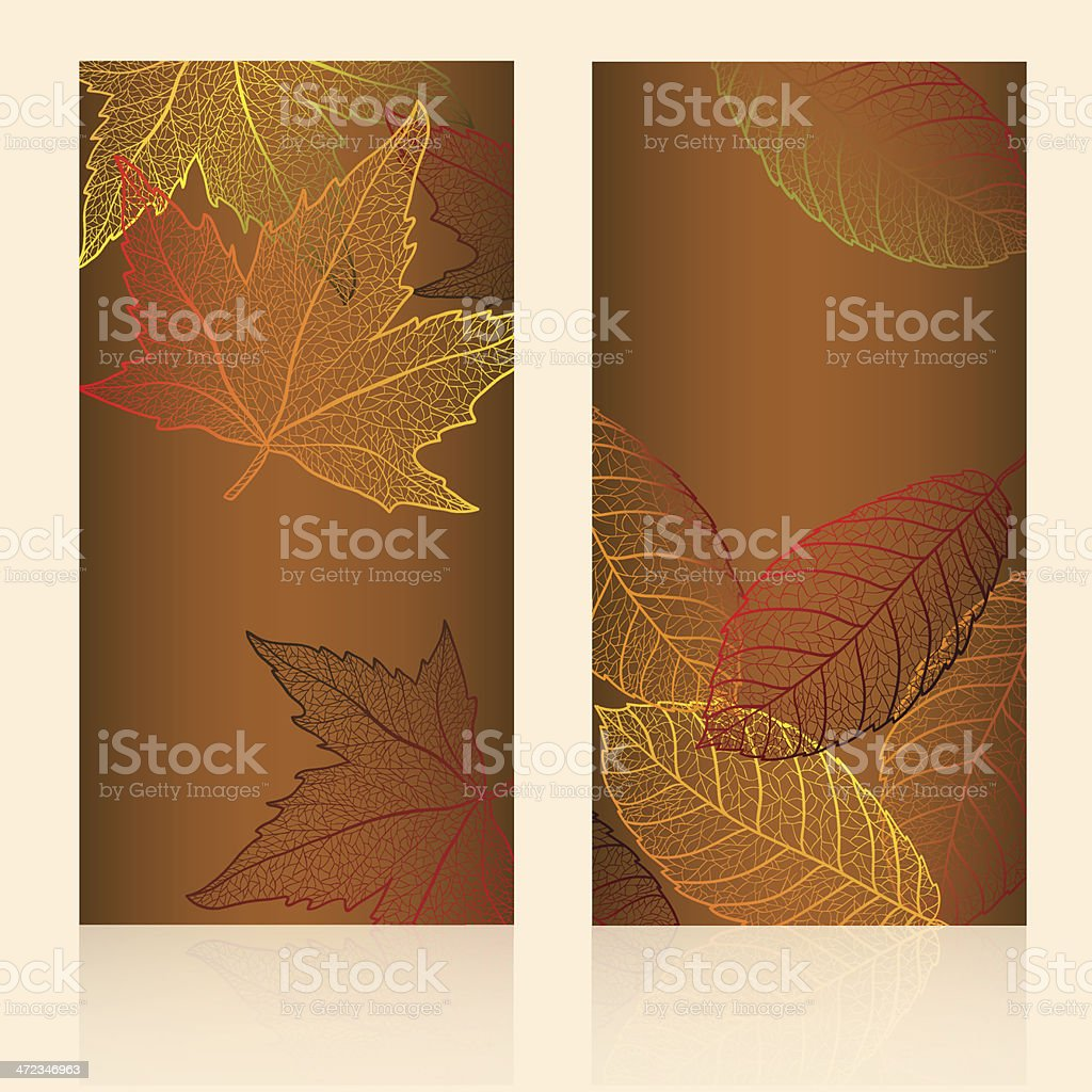Abstract template card with autumn leaves. royalty-free stock vector art