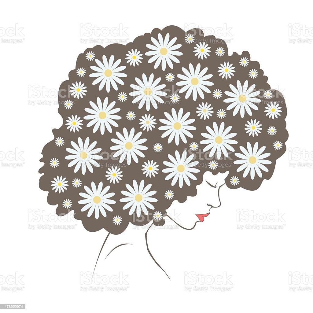 abstract  tender flowers hair - Illustration royalty-free stock vector art