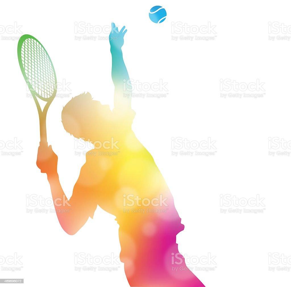 Abstract Tennis Player Serving in Beautiful Summer Haze. vector art illustration
