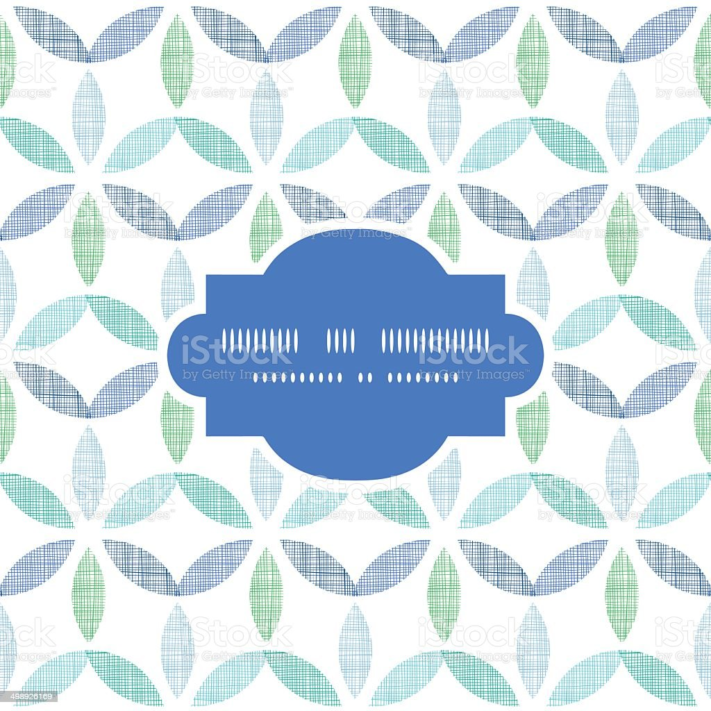 Abstract textile blue green leaves frame seamless pattern background royalty-free stock vector art