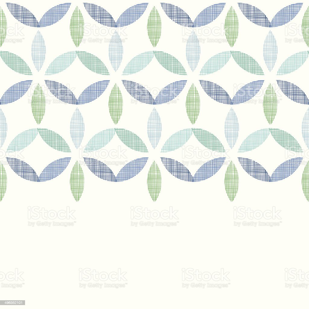 Abstract textile blue green leaves horizontal seamless pattern background royalty-free stock vector art