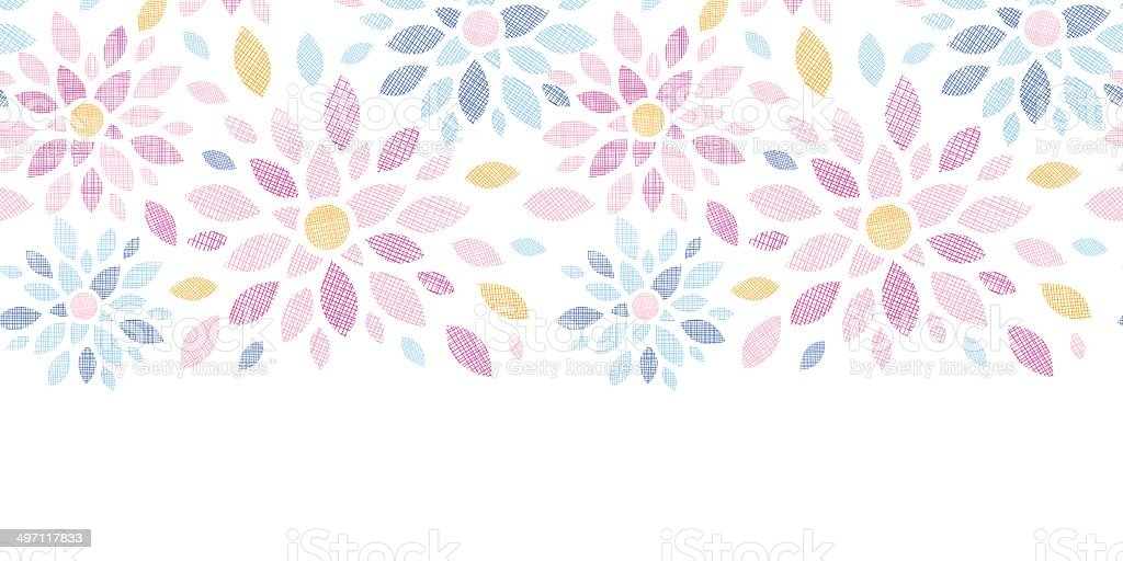 Abstract textile colorful flowers horizontal seamless pattern background royalty-free stock vector art