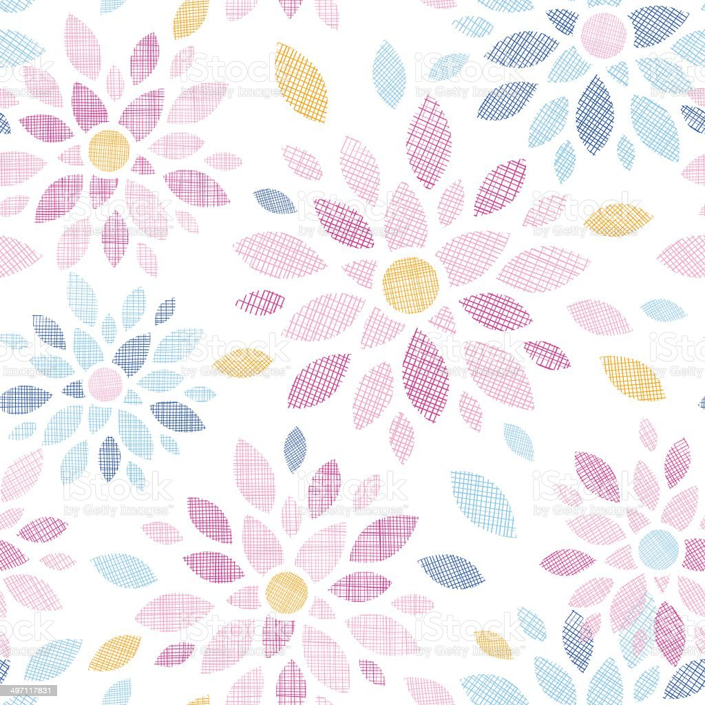 Abstract textile colorful flowers seamless pattern background royalty-free stock vector art