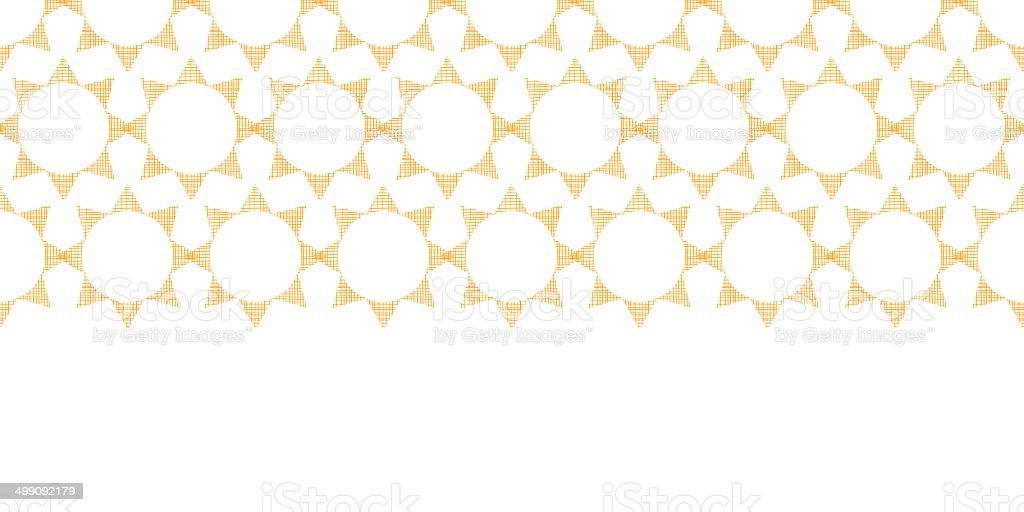 Abstract textile golden suns geometric horizontal seamless pattern background royalty-free stock vector art