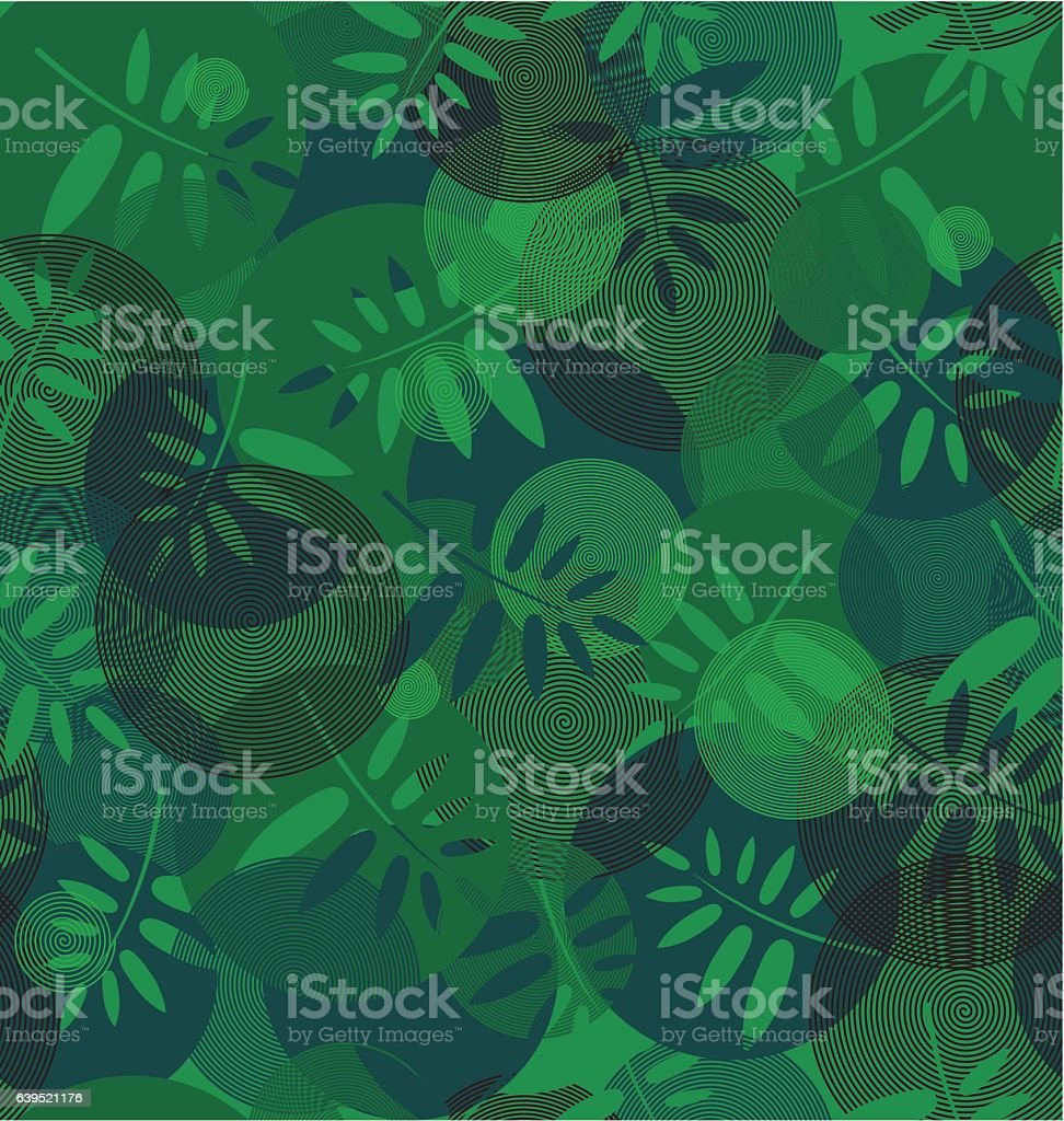 Abstract texture of spirals and leaf silhouette vector art illustration
