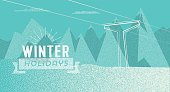 abstract textured geometric winter background with vintage badge