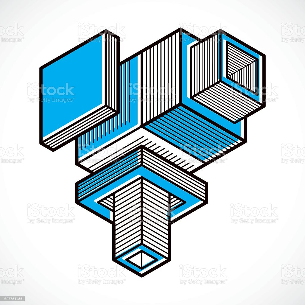 Abstract three-dimensional shape, vector design cube element. vector art illustration