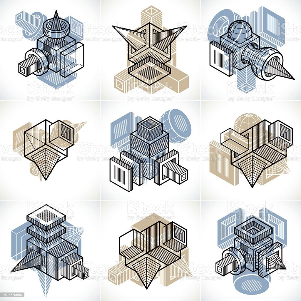 Abstract three-dimensional shapes set, vector designs. vector art illustration