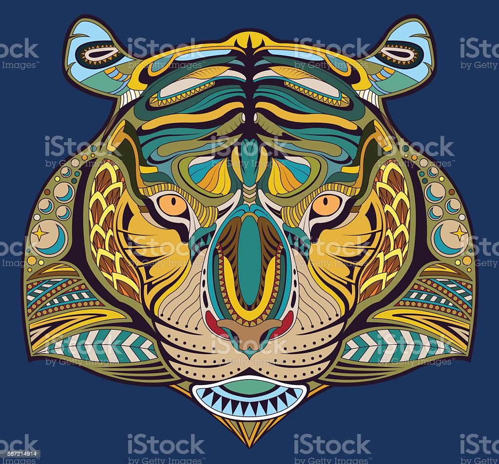 Abstract tiger head on a blue background. vector art illustration