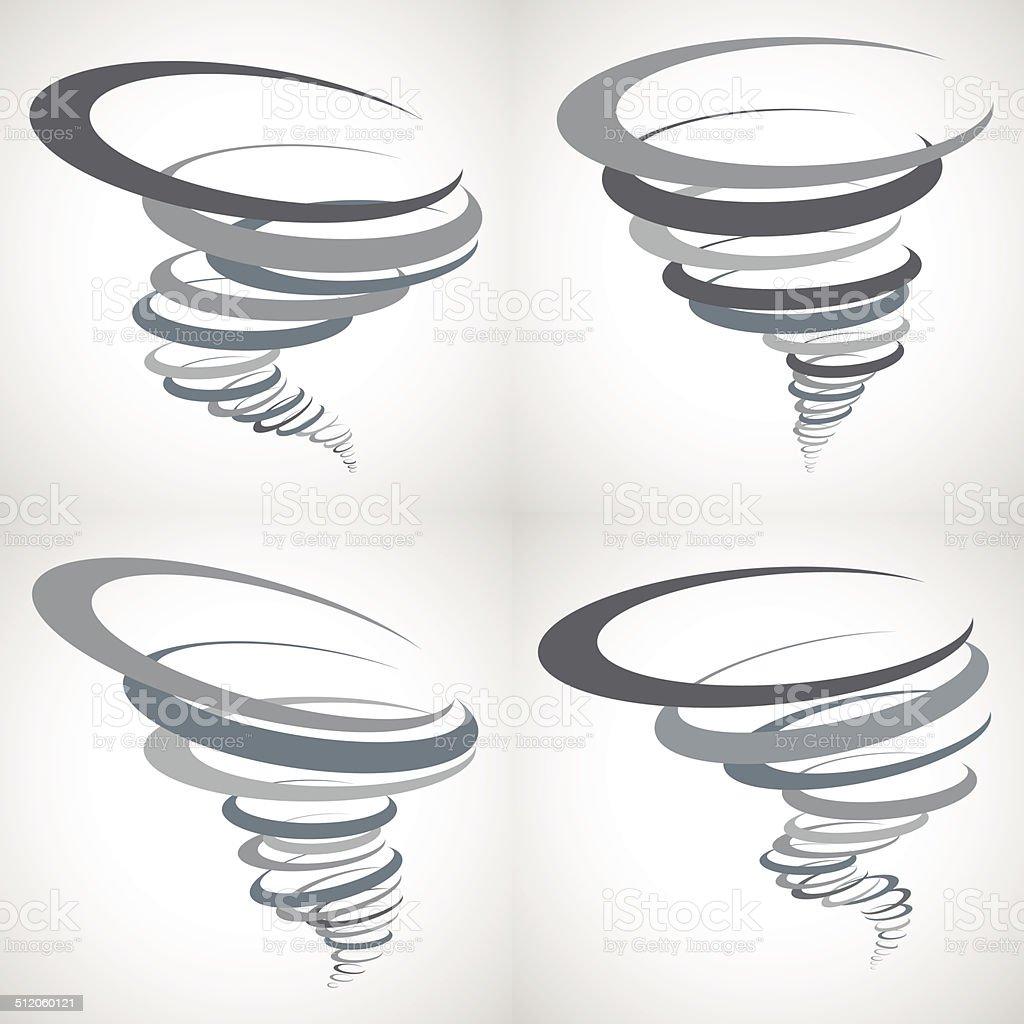 Abstract Tornado Storm set vector art illustration