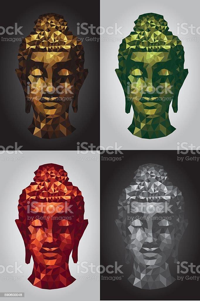 abstract tradition head buddha polygon set vector art illustration