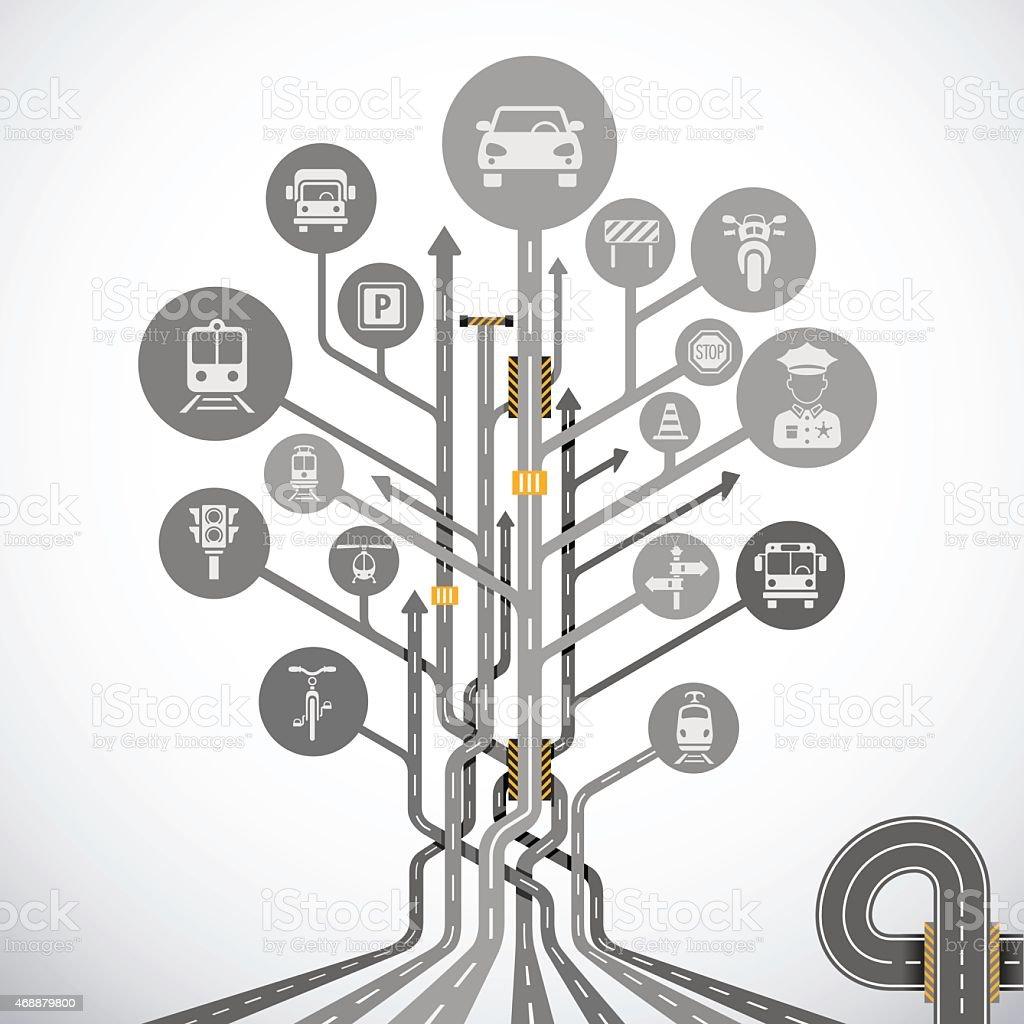 Abstract Traffic Tree vector art illustration