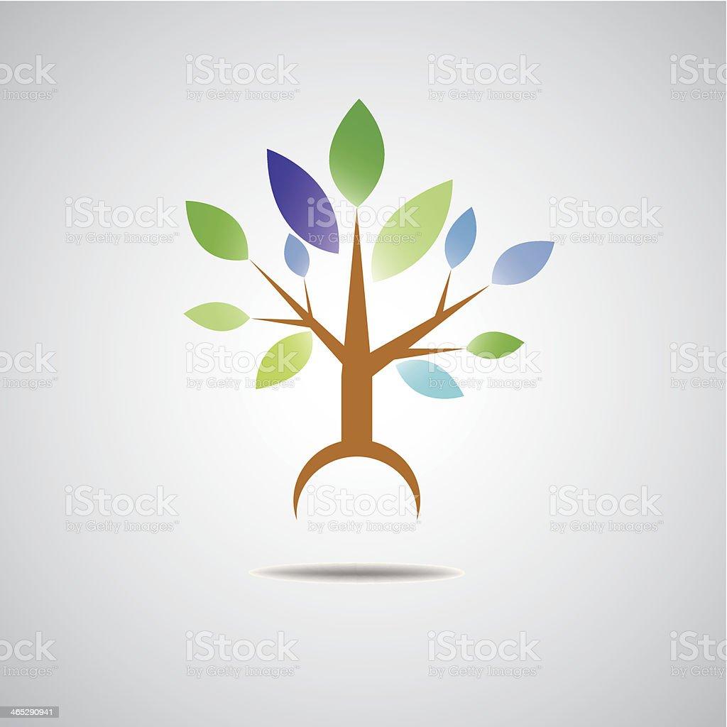 abstract tree eco icon vector art illustration
