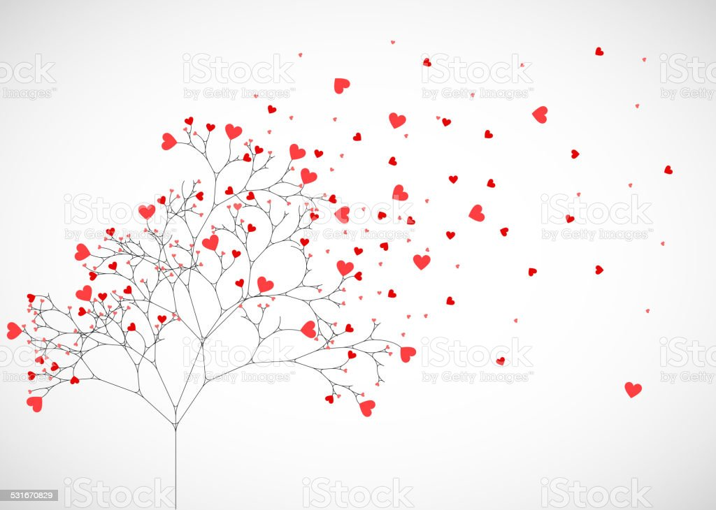 Abstract tree made with hearts. vector art illustration