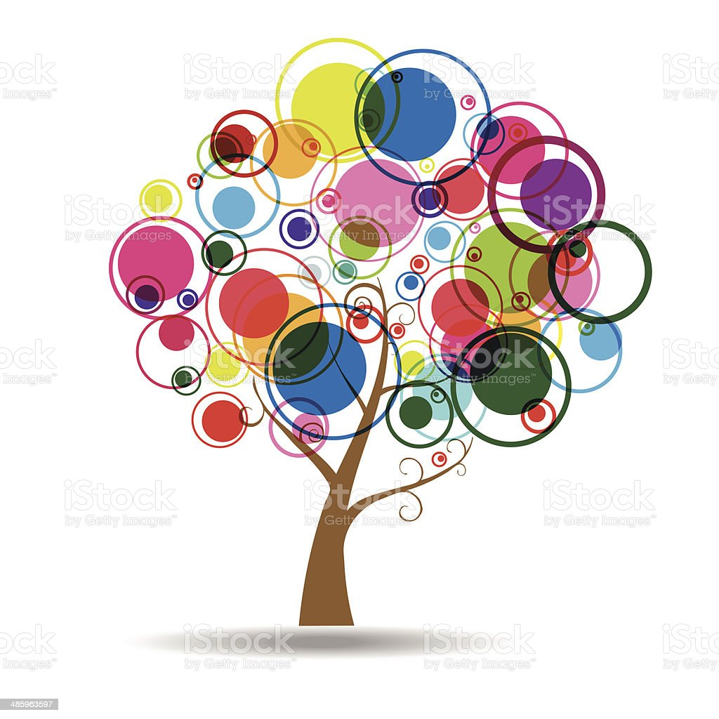 Abstract Tree Sticker Wall Decal vector art illustration