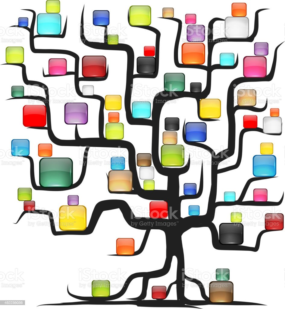 Abstract tree with glossy balls for your design royalty-free stock vector art