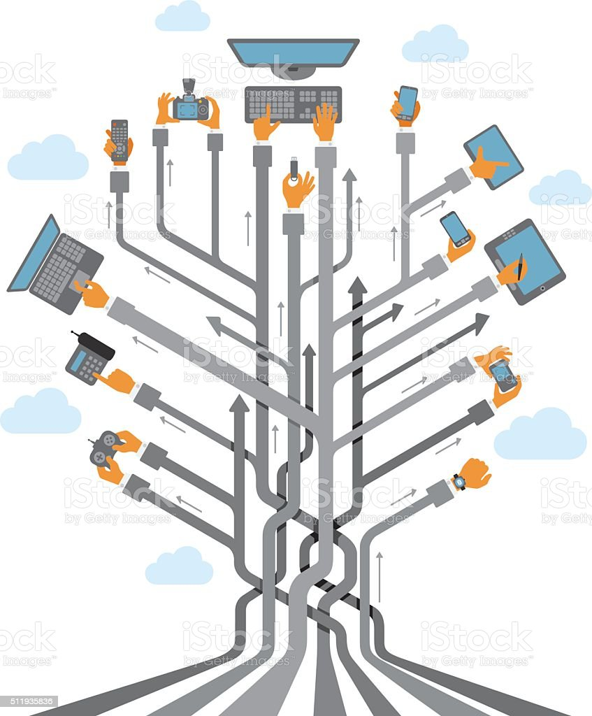 Abstract Tree with Hands using devices vector art illustration