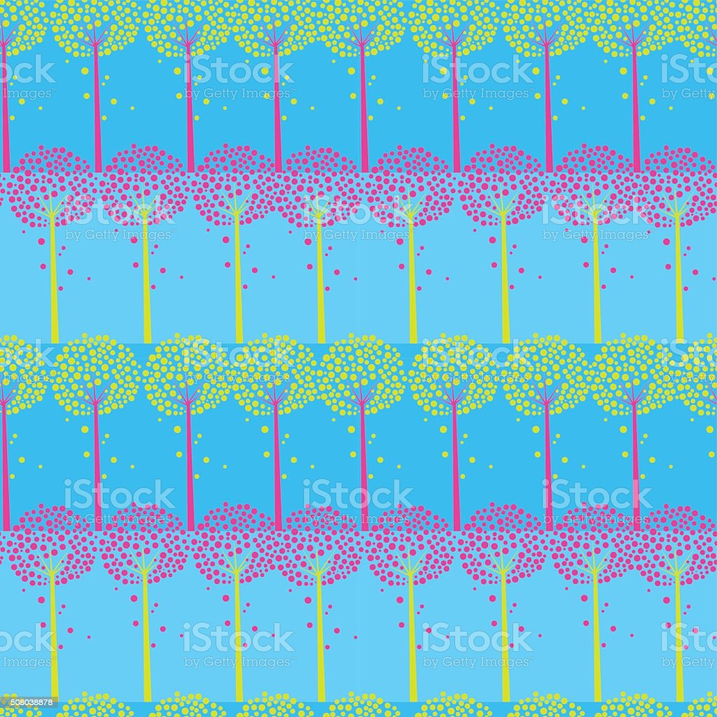 Abstract Trees And Strips Seamless Pattern vector art illustration