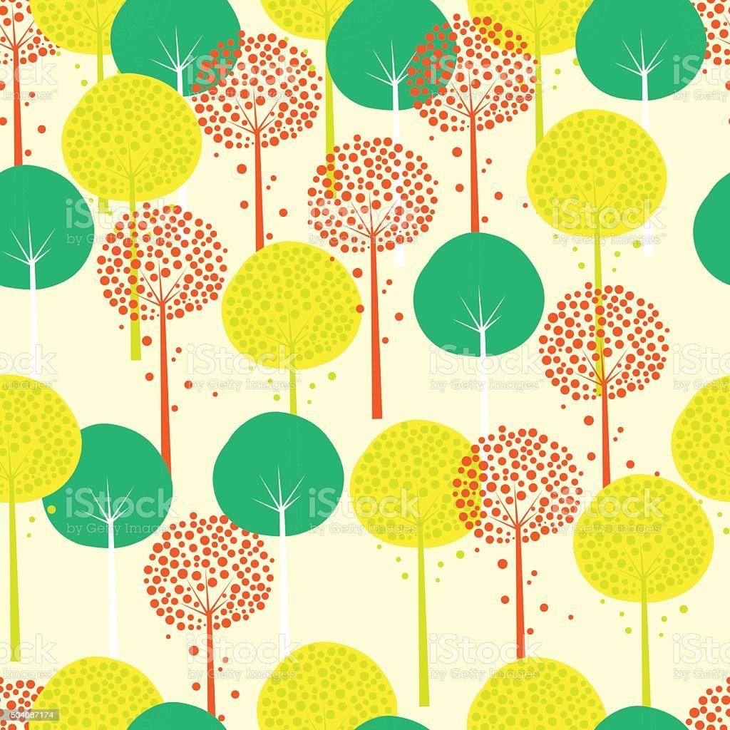 Abstract Trees Seamless Pattern vector art illustration
