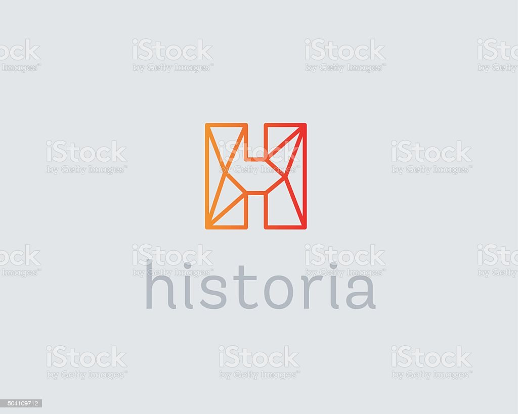 Abstract trend letter H logo design template. Colorful structure creative vector art illustration