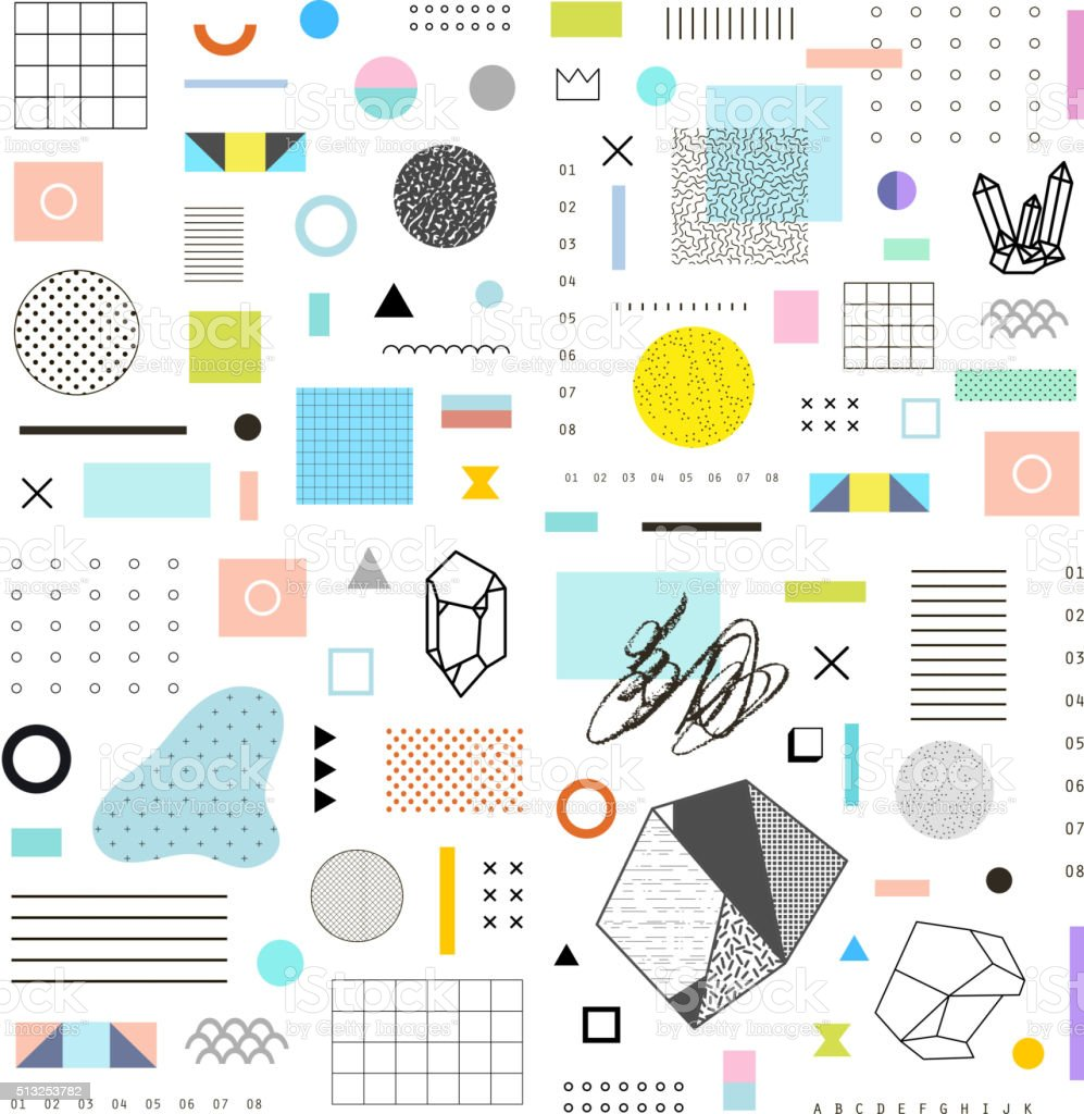 Abstract trendy template with different geometric shapes vector art illustration