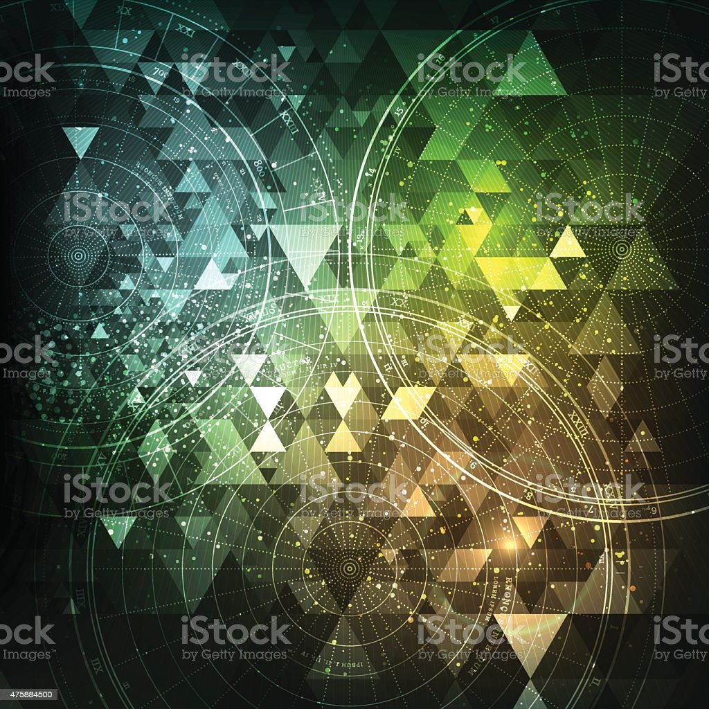 Abstract Triangle Background with Space Elements vector art illustration