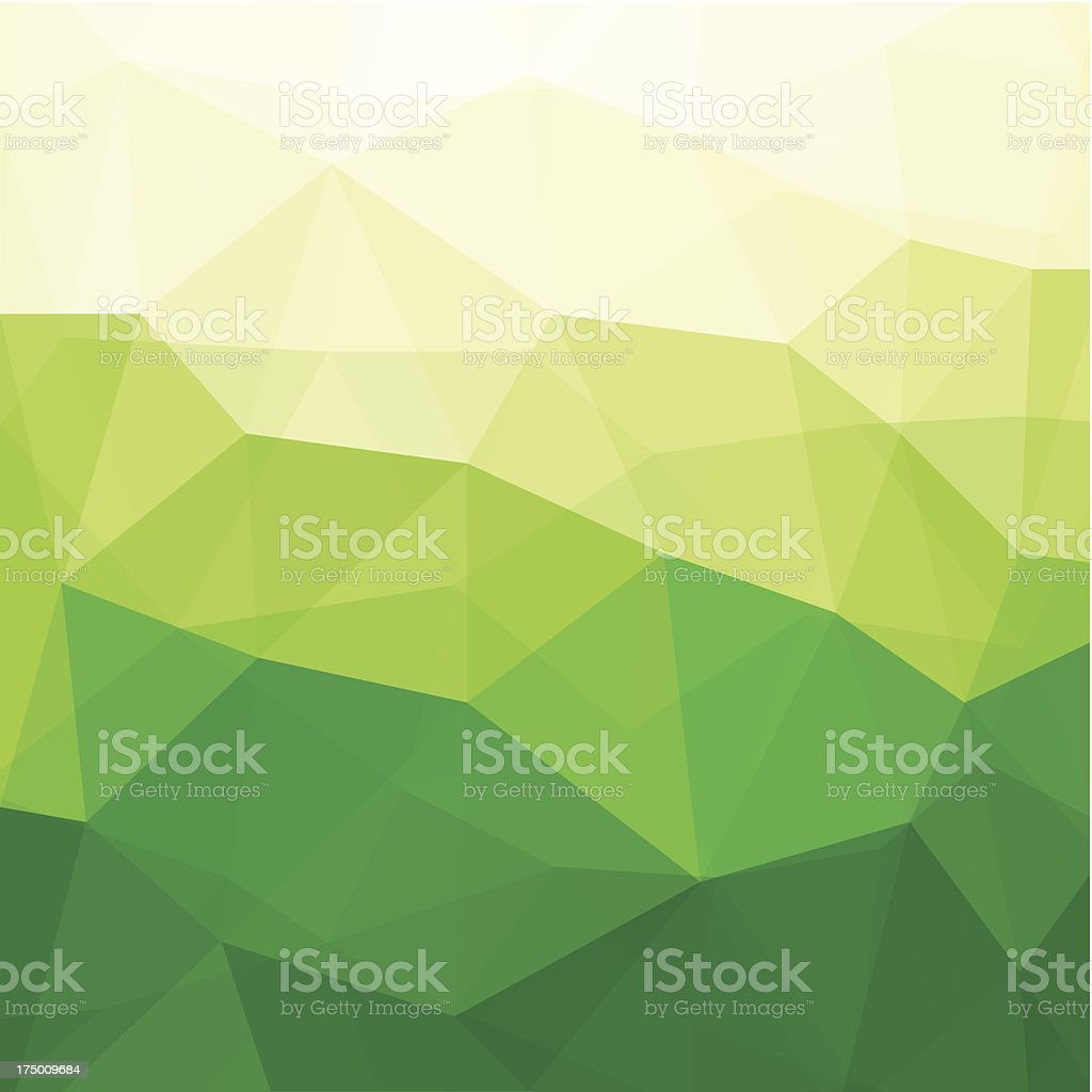 Abstract triangle design in shades of light to dark green royalty-free stock vector art