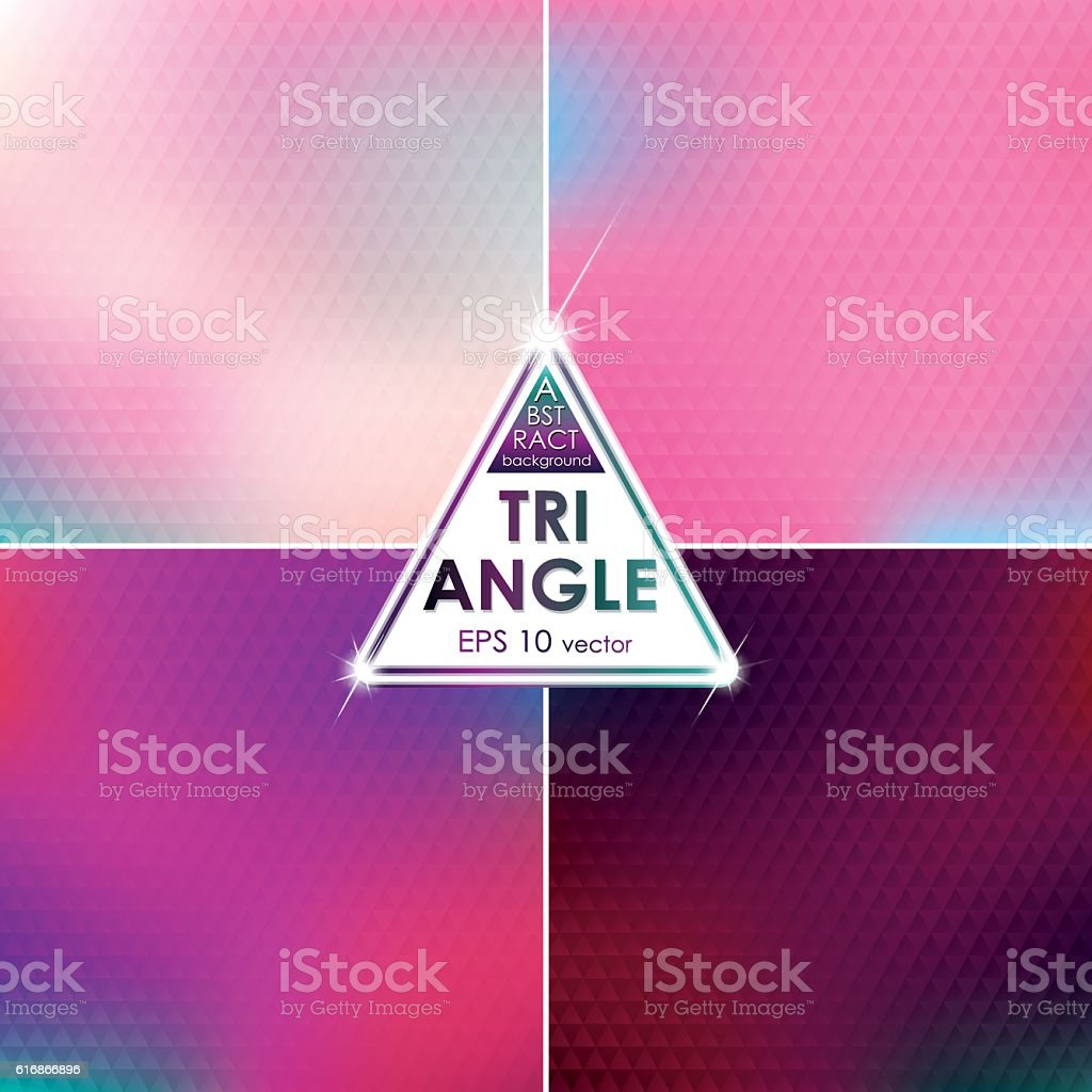 Abstract Triangle shaped backgrounds set Pink-Blue Palette vector art illustration