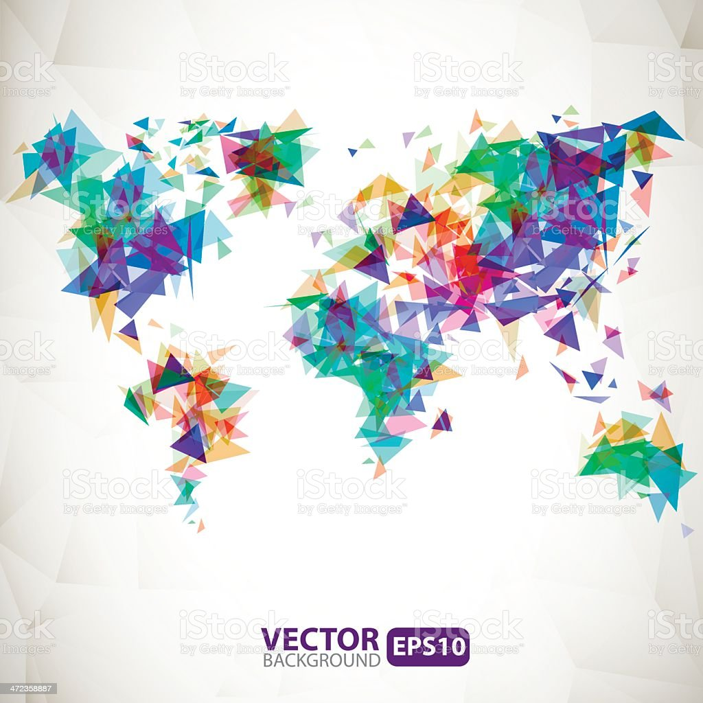 Abstract triangle world map with explosion royalty-free stock vector art