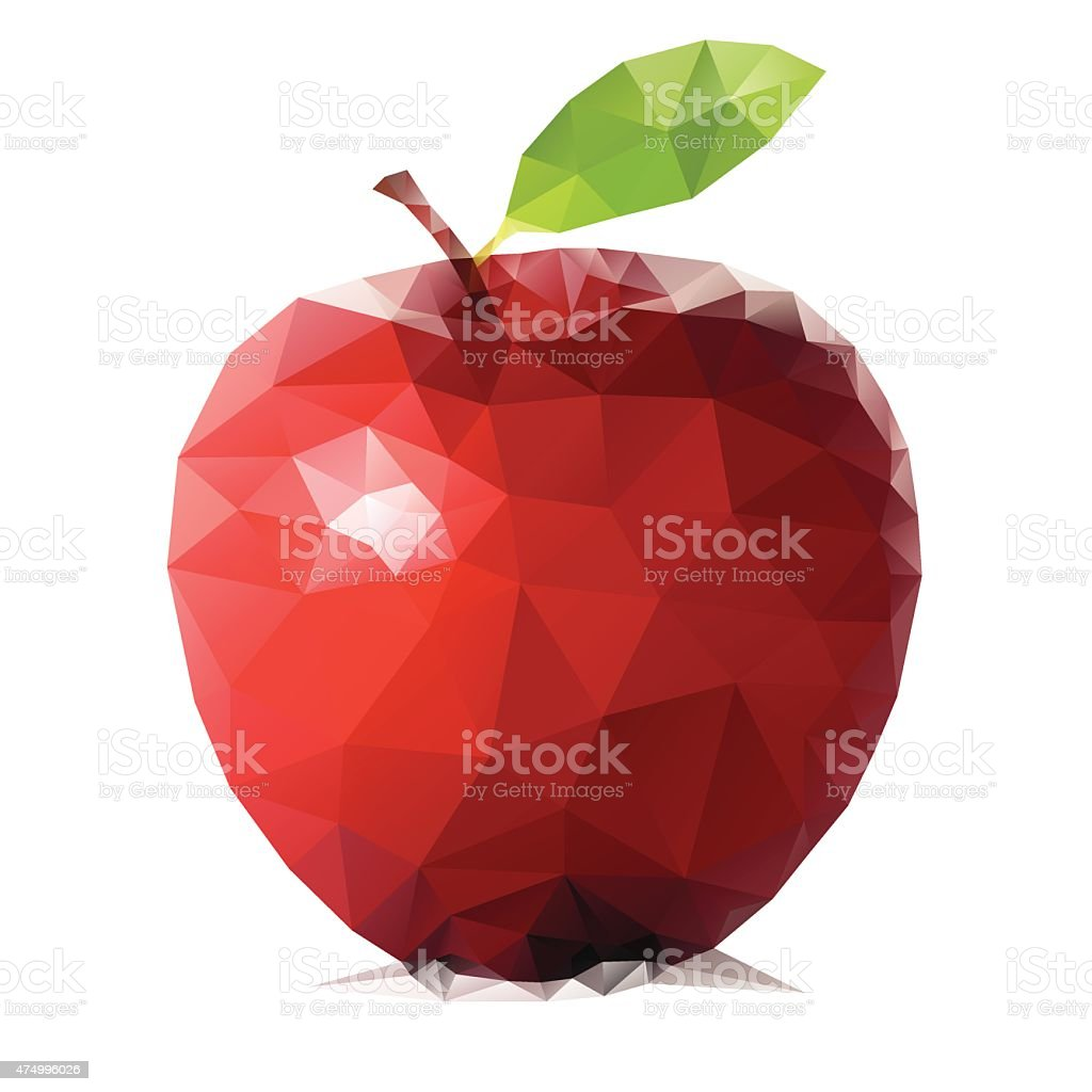 Abstract triangular red apple fruit isolated on white vector art illustration
