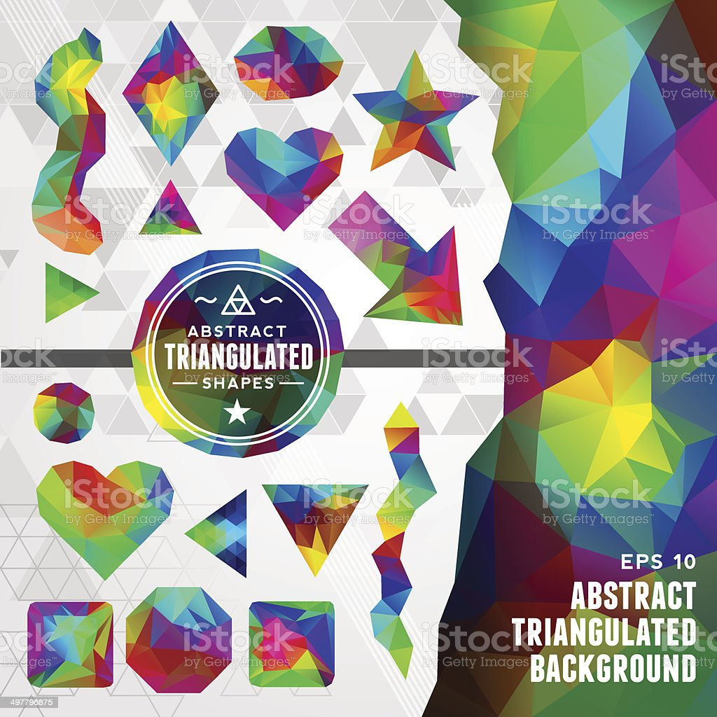 Abstract Triangulated Shapes Toolkit vector art illustration