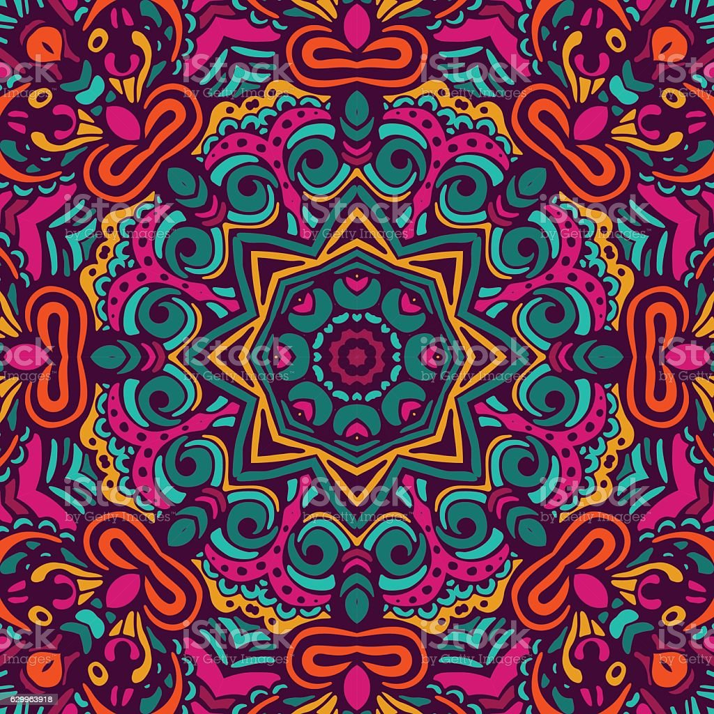 Abstract Tribal vintage ethnic seamless pattern vector art illustration