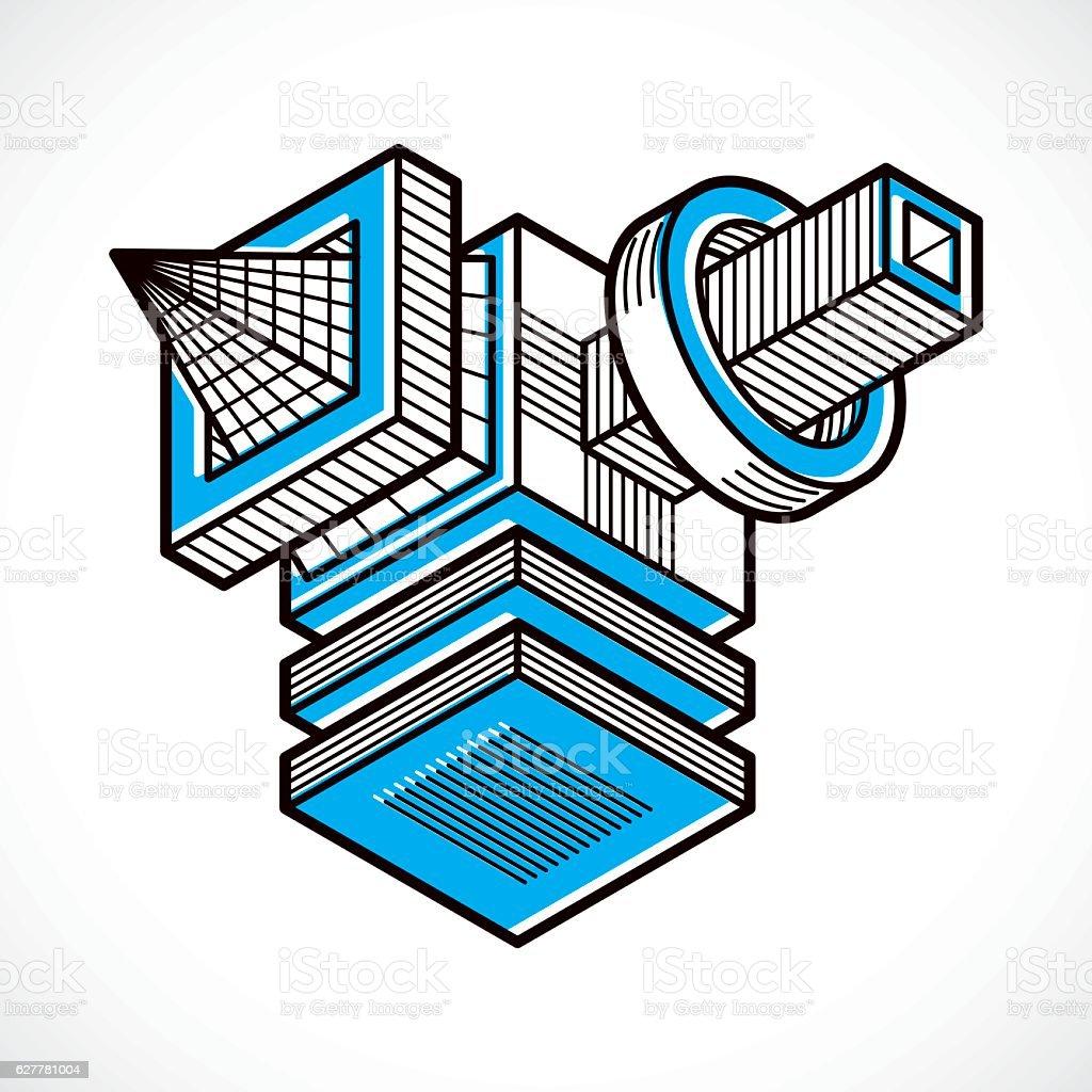 Abstract trigonometric construction, vector dimensional design t vector art illustration