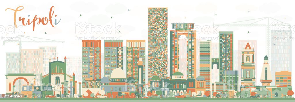 Abstract Tripoli Skyline with Color Buildings. vector art illustration