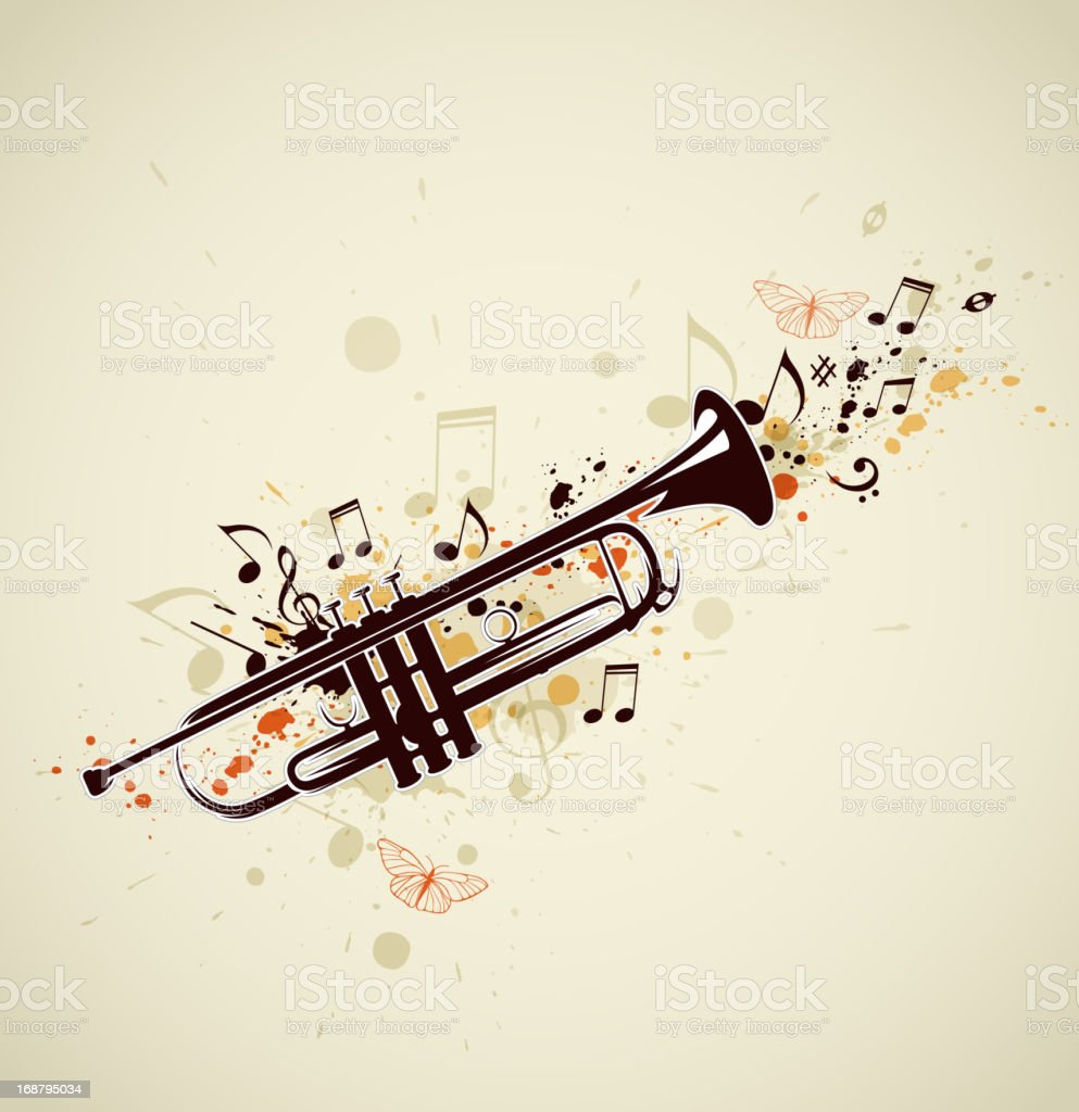 Abstract trumpet and notes vector art illustration