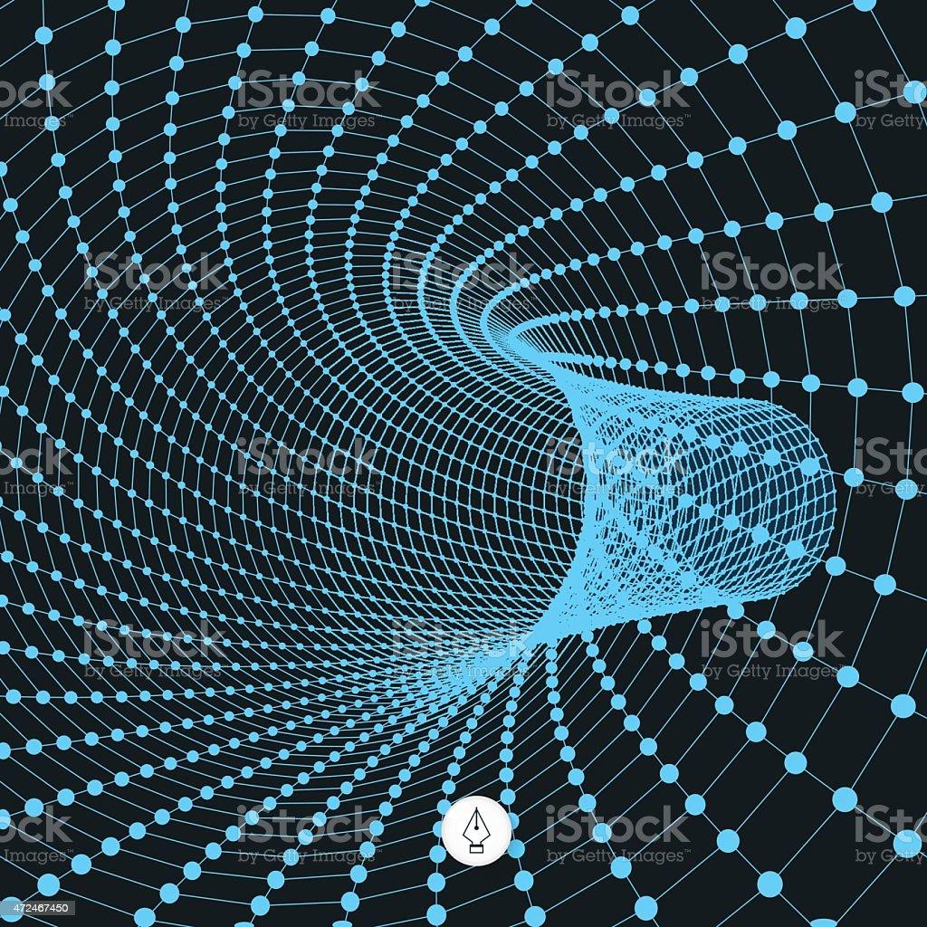 Abstract tunnel grid. 3d vector illustration. vector art illustration