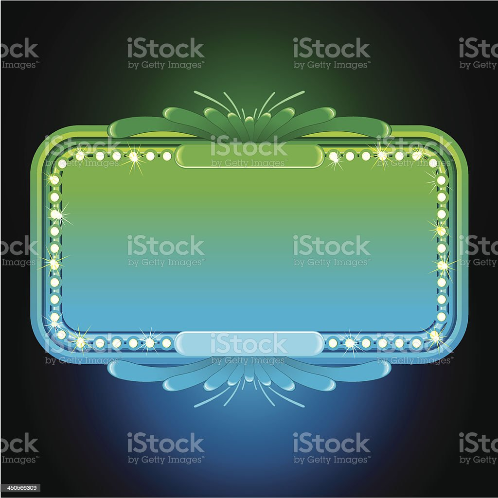 Abstract Turquoise Neon Sign. Vector royalty-free stock vector art