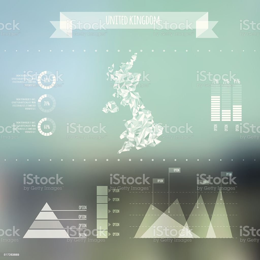 Abstract UK Map with Infographic Elements on Blurred Background vector art illustration