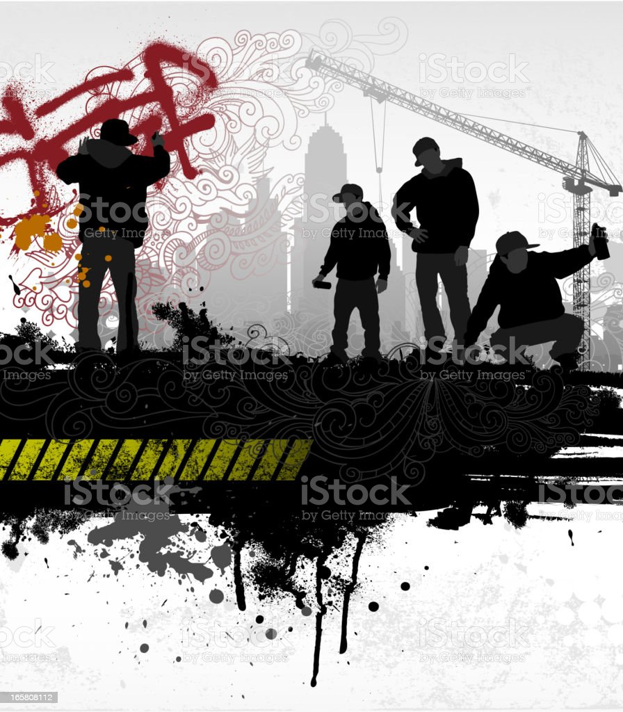 Abstract urban design of silhouettes spray painting graffiti vector art illustration
