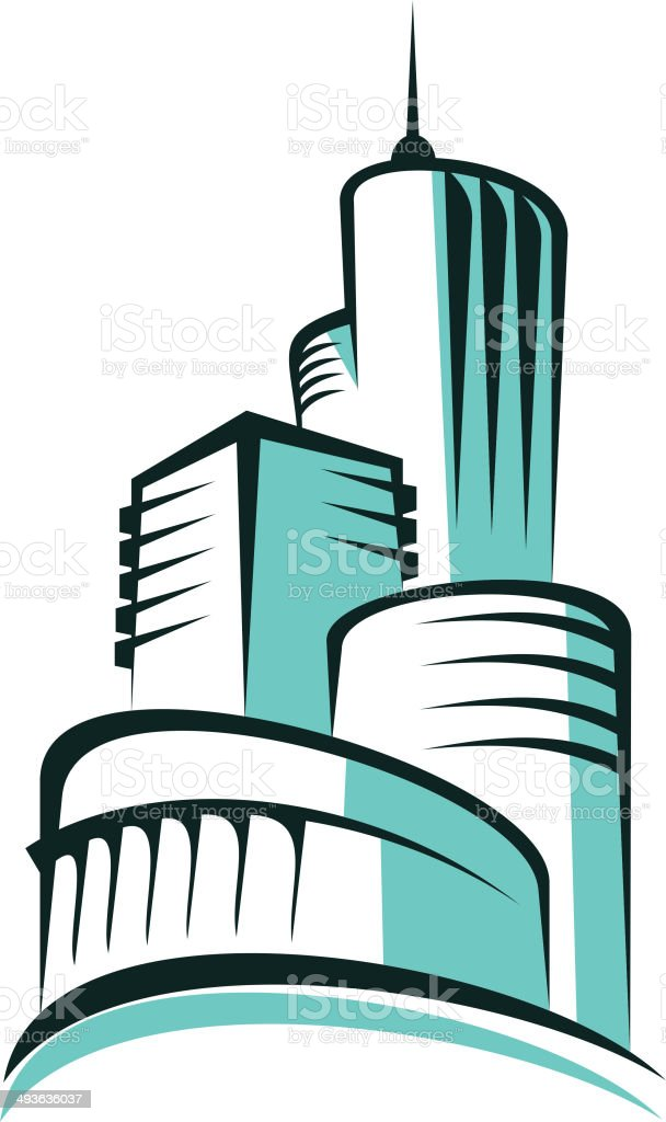 Abstract urban skyline with modern architecture royalty-free stock vector art